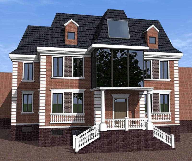 проект загородного дома, дизайн фасада, варианты отделки фасада клинкерной плиткой и лепным декором из полиуретана, молдинги, русты, колонны, балюстрада, красивые дома, ремонт частного дома