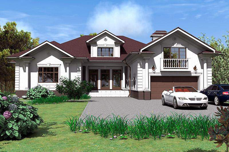 отделка фасада дома белой лепниной, проект загородного дома