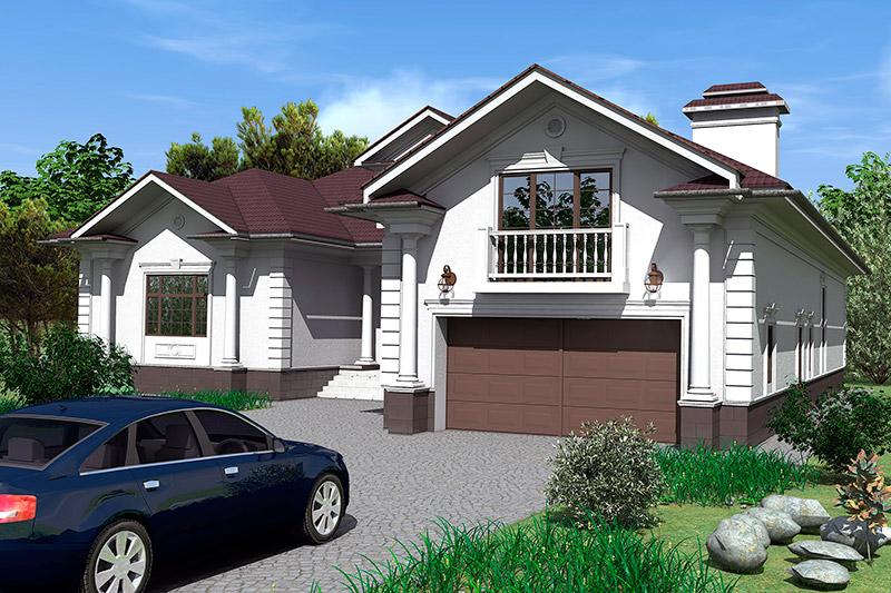 дом с гаражом, тюнинг фасада, как оформить въезд в гараж