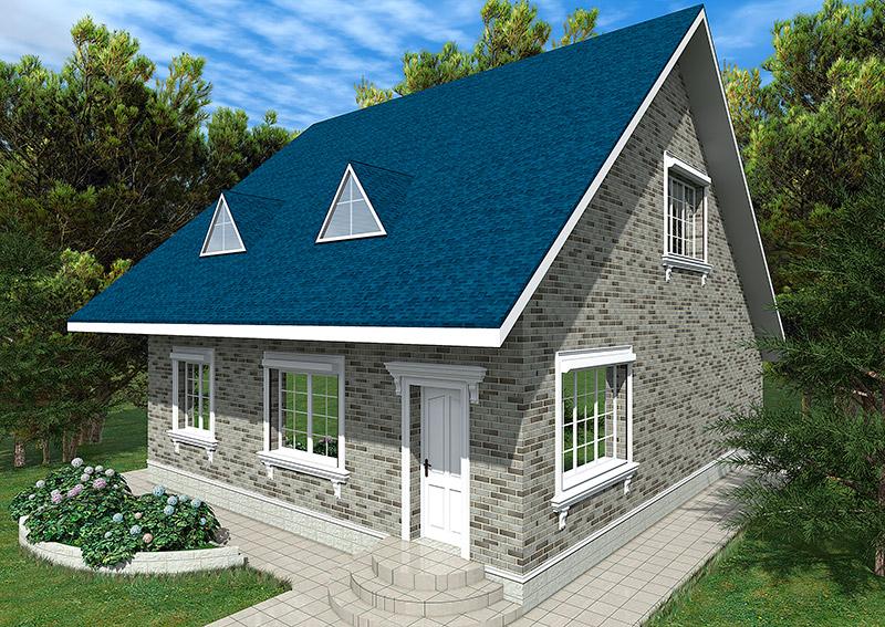 украшение лепниной дома с мансардой, оформление фасада молдингами, проект дачного дома