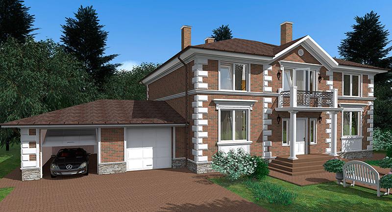 проект фасада с полиуретановым дкором - русты, молдинг, карниз, сандрик, колонны, оформление балкона