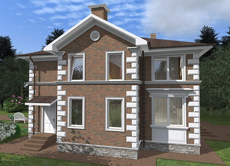 фасад частного дома с фронтоном, вентиляционным окном, рустами, карнизами и молдингами из полиуретана