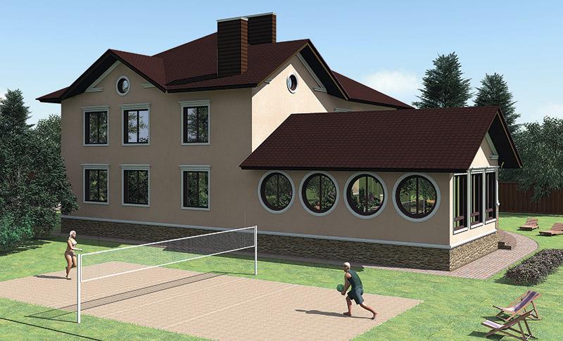 как сделать круглые окна на фасаде, проект дома с бассейном, молдинги и карнизы в декоре дома