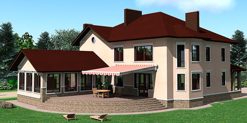 дизайн дома с крыльцом, оформление фасада лепниной из полиуретана