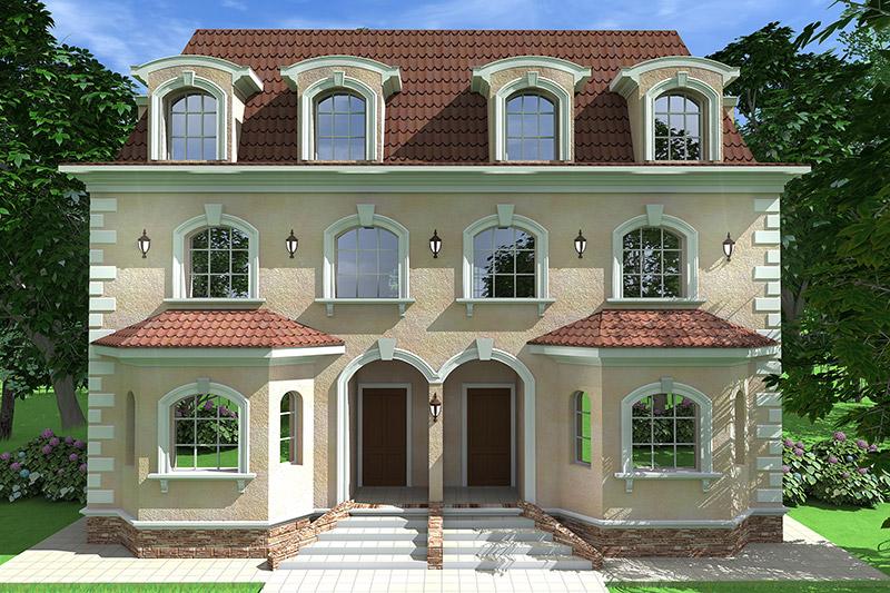 проект декора фасада с использованием полиуретановых элементов - арки, замковый камень, молдинг, наличник, карниз, русты