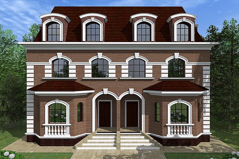 как оформить дом для двух семей, симметричный фасад, полиуретановый декор, красивые окна и двери