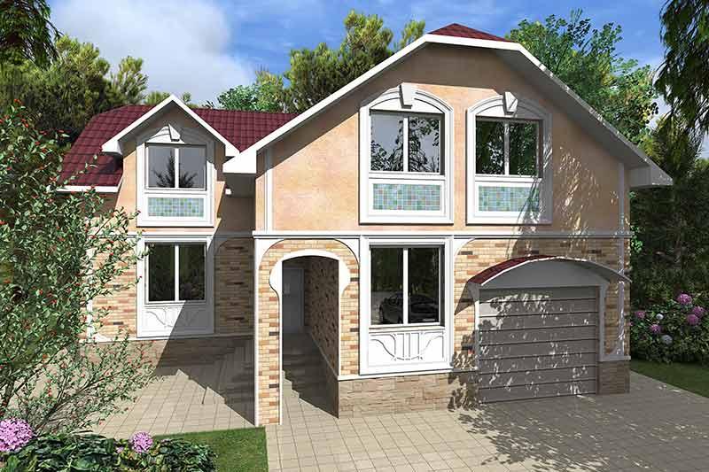 вариант дизайна внешнего вида дома, как оформить загородный дом, сандрик, обрамление, наличник