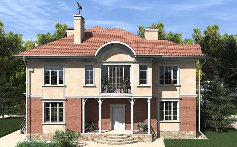оформление фасада полиуретановой лепниной - входная группа, молдинги, сандрик, колонны, арки, карнизы