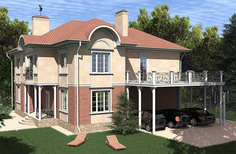 красивый дом, проект двухэтажного частного дома, дом с балконом, гараж под навесом