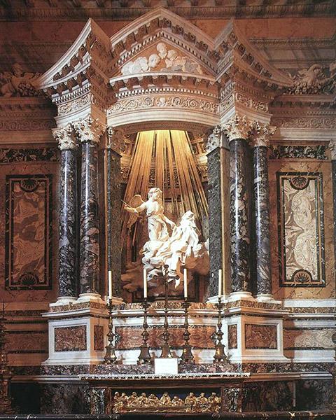 алтарная группа Экстаз Святой Терезы, архитектор и скульптор Бернини, барокко в скульптуре и архитектуре, фотографии