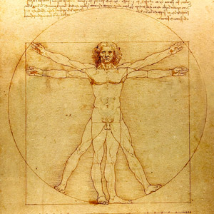 Витрувианский человек, Леонардо да Винчи, рисунок человека в квадрате и круге, пропорции человеческого тела