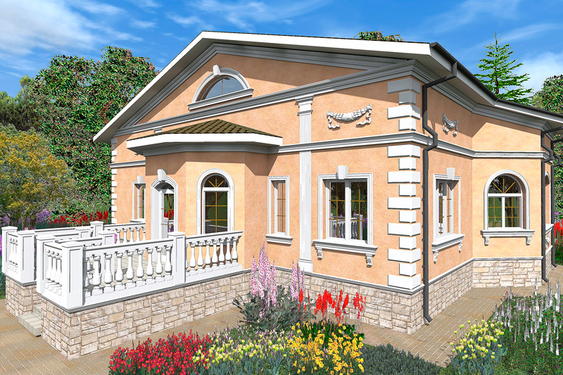дизайн-проект фасада дома в классическом стиле, неоренессанс, как оформить загородный коттедж, полиуретановая лепнина, красивые дома
