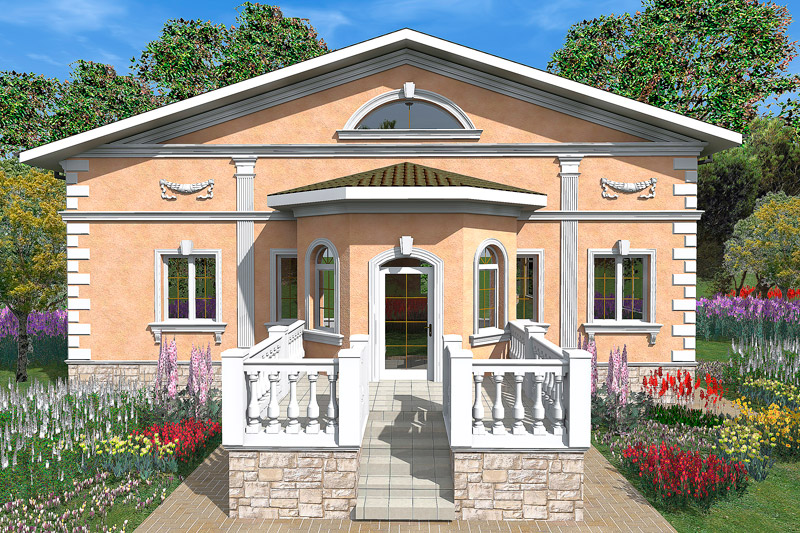 подкровельный карниз, русты, барельеф, пилястры, замковый камень, балюстрада, входная группа, оформление входа полиуретановой лепниной, молдинги, окна на фасаде дома