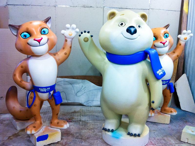 фигуры из полистирола, изготовление фигур, символы Олимпиады в Сочи 2014, леопард, белый мишка, медведь, талисманы Олимпийских игр