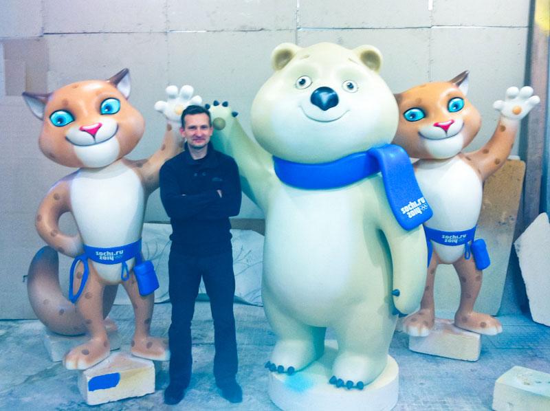 талисманы игр в Сочи 2014, символы олимпийских игр, изготовление фигур из полистирола, цех уникальных изделий, скульптуры, заказать