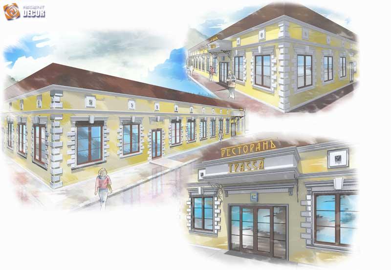 рисунок оформления дома, как красиво оформить фасад дома, как выглядит здание с полиуретановой лепниной