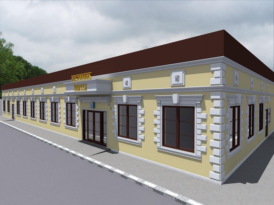 """дизайн-проект ресторана """"Трасса"""", оформление входной группы полиуретановым декором, отделка окон и дверей, консоль из полиуретана, карниз, русты около окон"""