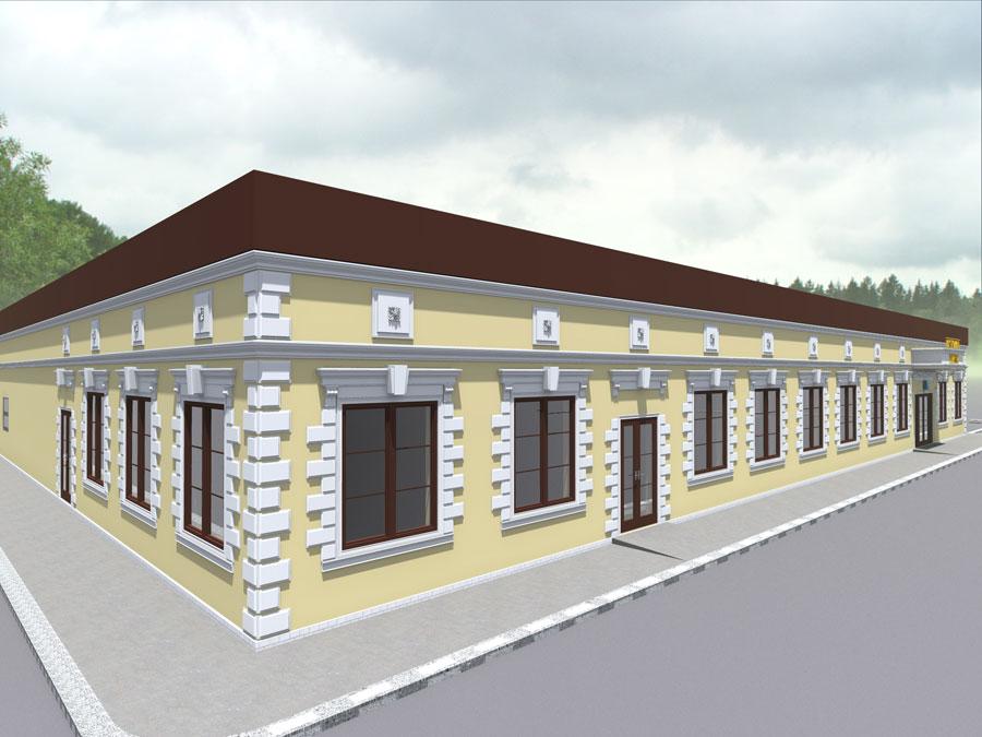как сделать угол здания, оформление полиуретановой лепниной фасада здания, русты из полиуретана, как использовать лепнину при строительстве дома