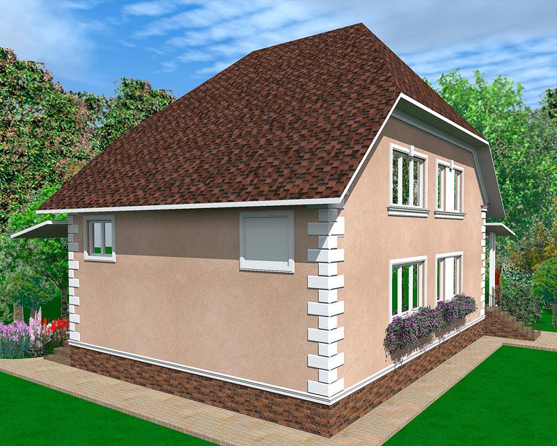 красивый коттедж, загородный дом, отделанный полиуретановой лепниной, молдинг из полиуретана по периметру дома, коттеджи проекты, домик с цветами
