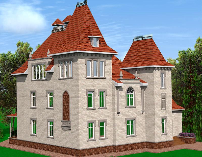 иллюстрация дизайн фасада дома, готический стиль, полиуретановый карниз, молдинг из полиуретана, обрамление окна, как оформить окна