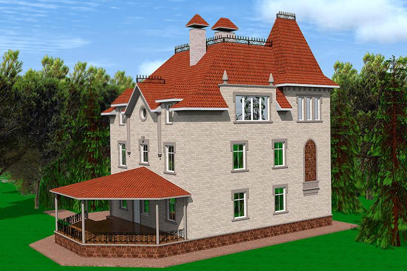 проект трехэтажного частного дома, окна, веранда, мансарда, лепной декор, клинкерная плитка