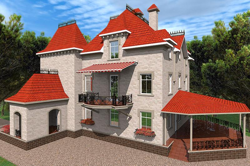 проект дизайна фасада дома, реализация проекта, кирпич и камень в отделке, окна и двери на фасаде, полиуретановая лепнина